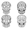 set of sugar skulls isolated on white backgroun vector image