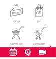 Shopping cart gift bag and sale icons vector image vector image