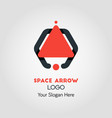 spaceship-like upside arrow logo template vector image vector image