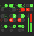 toggle switch set dark theme on and off vector image