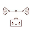 transmission antenna cartoon kawaii in monochrome vector image vector image