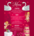 wedding day menu template starter main desserts vector image vector image