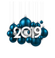 white festive 2019 new year card with blue vector image vector image