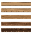 Wooden ruler texture on white background Wooden vector image vector image