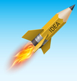 Yellow pencil as flying rocket vector image vector image