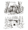 ancient cave prehistoric house of wood or stone vector image vector image