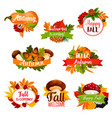 autumn icon of fall leaf pumpkin acorn vector image vector image
