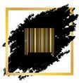 bar code sign golden icon at black spot vector image vector image