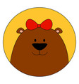 bear wearing a bow tie on head on white vector image vector image
