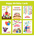 birthday cards set vector image