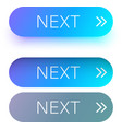 blue next web buttons with arrow isolated on white vector image vector image