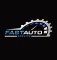 blue silver auto repair logo symbol vector image vector image
