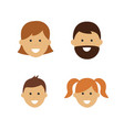 cartoon family face icons two adults and two vector image vector image