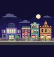 cartoon retro city houses facades landscape vector image vector image