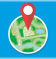 city suburban circle map with marker vector image