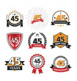 collection retro 45 th years anniversary logo vector image vector image