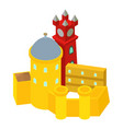colored castle icon isometric style vector image vector image
