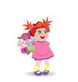 cute little baby girl in pink dress with flowers vector image
