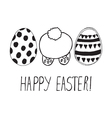 easter greeting with eggs and bunny back vector image vector image