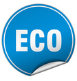 eco round blue sticker isolated on white vector image vector image