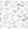 fitness and healthy lifestyle seamless pattern vector image