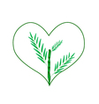 Fresh Bamboo Tree in A Heart Shape vector image