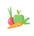 fruits and vegetables flat color icon vector image
