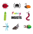 Funny cartoon insects set vector image vector image