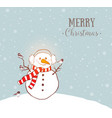 greeting christmas card with snowman in earmuffs vector image vector image