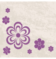 grunge violet flowers on the textured background vector image vector image
