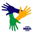 Hands Icon using Brazil flag colors vector image vector image