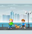 happy cheerful children walking in city park vector image vector image