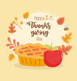 happy thanksgiving day pumpkin cake and apple fall vector image vector image