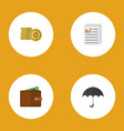 icon flat finance set of paper coin umbrella and vector image