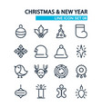 line new year icons set vector image