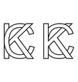 logo sign kc and ck icon sign two interlaced vector image vector image