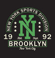 new york brooklyn - graphic design for t-shirt vector image vector image