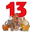 number thirteen and cartoon dogs group vector image vector image