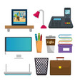 office workplace set icons vector image