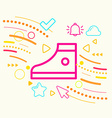 One sneakers on abstract colorful geometric light vector image vector image