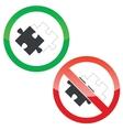 Place puzzle permission signs set vector image