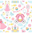 princess seamless pattern various fairytale vector image