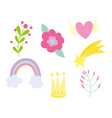 rainbow flower crown star heart foliage decoration vector image