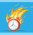 red alarm clock in fire burning clock vector image