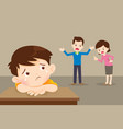 sad child with angry dad and mom quarreling