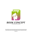 science book logo concept nature people learning vector image vector image