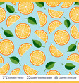 seamless pattern with oranges fruits and leaves vector image