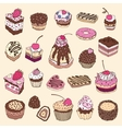 set cute cake vector image