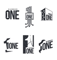 Set of black and white number one logo templates vector image vector image