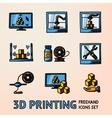 Set of handdrawn 3D Printing icons with - printers vector image vector image